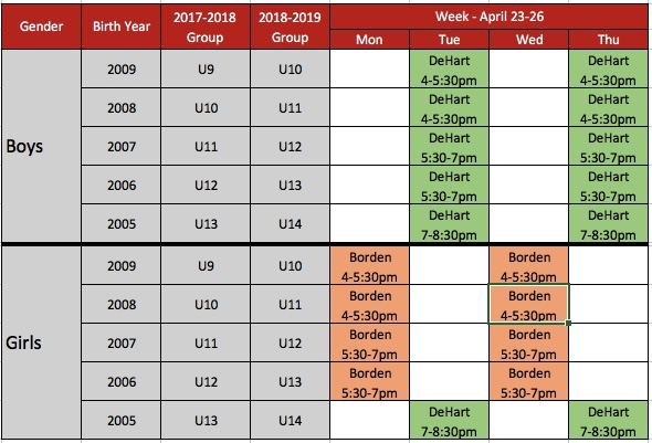 TryOut Schedule 2018